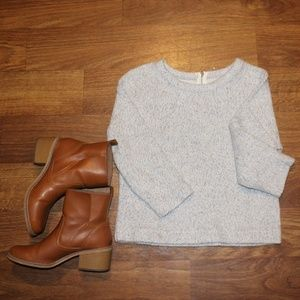 Zara Cropped Sleeve Sweater Small Gray